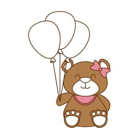 cute bear teddy with balloons air vector illustration design