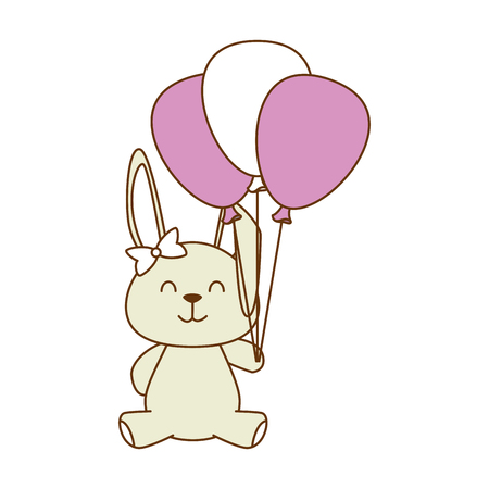 Cute little rabbit with balloons illustration design Illustration
