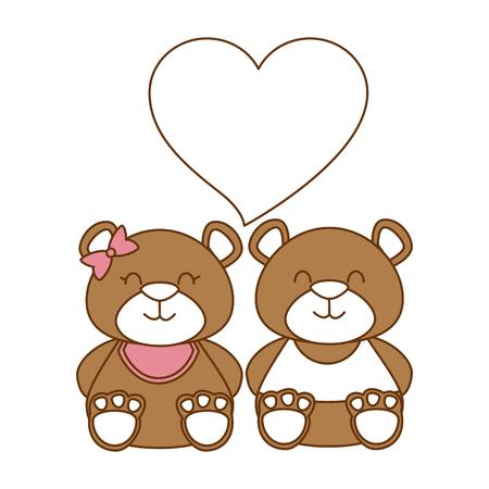 cute bears teddy couple vector illustration design