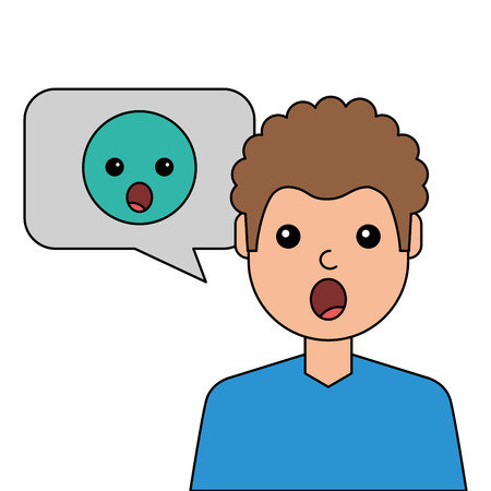 Surprised young man with emoticon avatar character illustration design Illustration