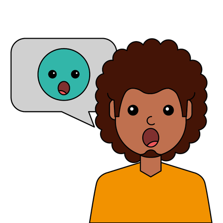 surprised young man with emoticon avatar character vector illustration design