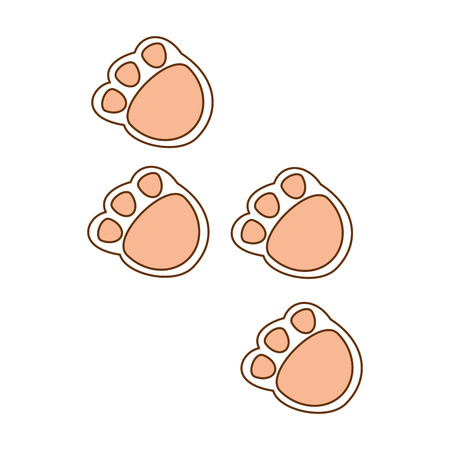 cute footprints teddy icon vector illustration design