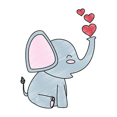 cute little elephant with hearts vector illustration design