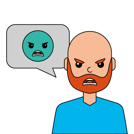 angry young man with emoticon avatar character