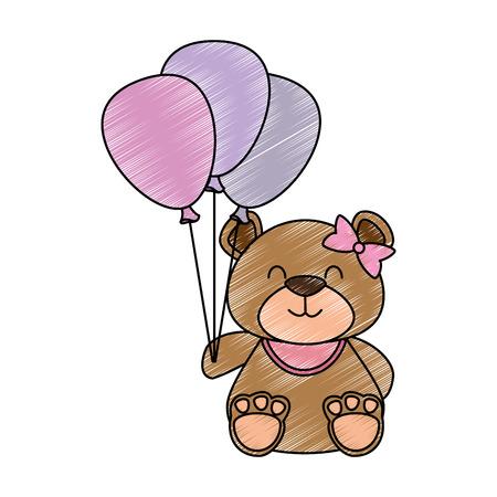 Cute bear teddy with balloons air vector illustration design Vectores