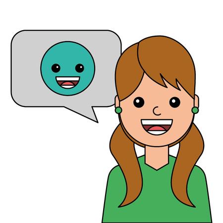 Een jonge vrouw gelukkig met ontwerp van de emoticonavatar karakter vectorillustratie