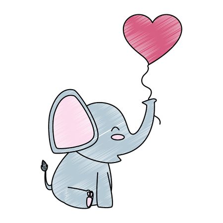 A cute little elephant with heart shaped pump vector illustration design