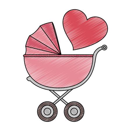 schattige baby kar met hart vector illustratie ontwerp