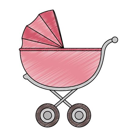 schattige baby kar pictogram vector illustratie ontwerp