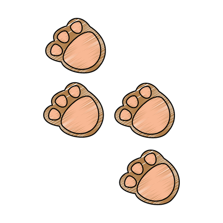 Cute footprints teddy icon vector illustration design.