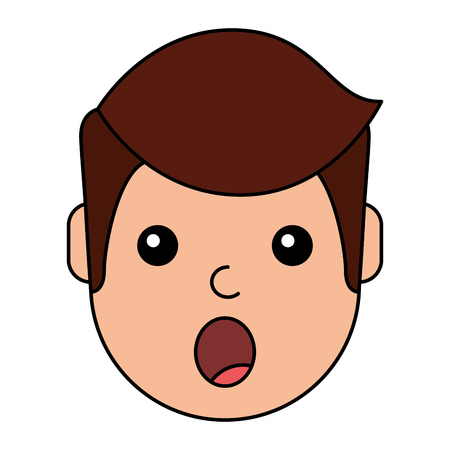 A surprised young man avatar character vector illustration design