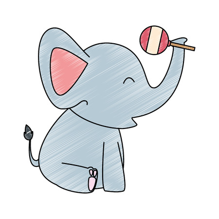 A cute little elephant with jingle bell vector illustration design
