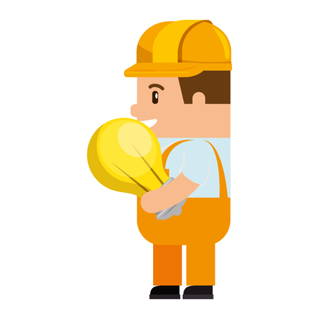A funny builder with bulb avatar character vector illustration design Иллюстрация