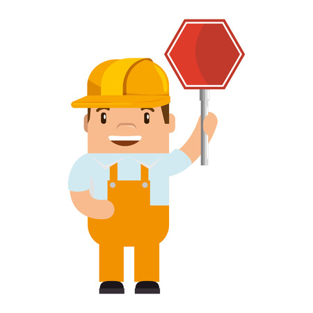 A funny builder with traffic signal avatar character vector illustration design