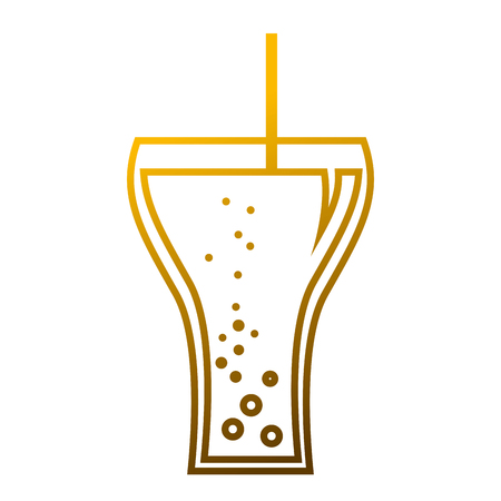 A glass soda straw with bubbles beverage vector illustration