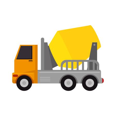콘크리트 아이콘 벡터 일러스트 레이 션 디자인을위한 트럭 믹서