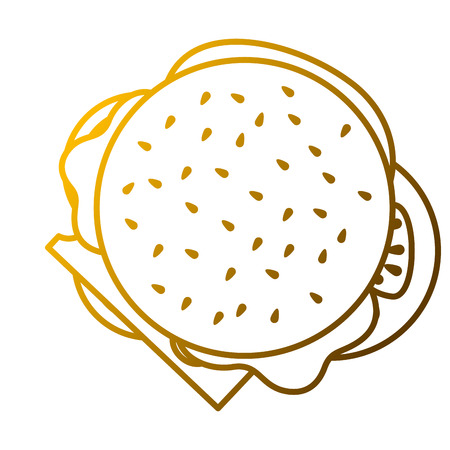 a burger  in fast food delicious top view vector illustration Illustration