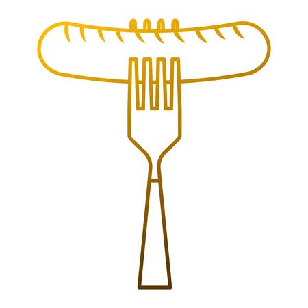 Sausage on fork fresh food image Illustration