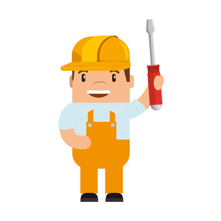Funny builder with screwdriver avatar character vector illustration design
