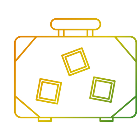 Suitcase travel luggage with stickers and handle vector illustration