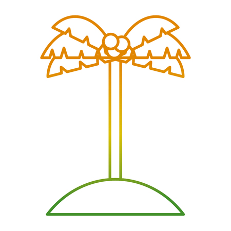Palm tree coconut in sand island icon vector illustration