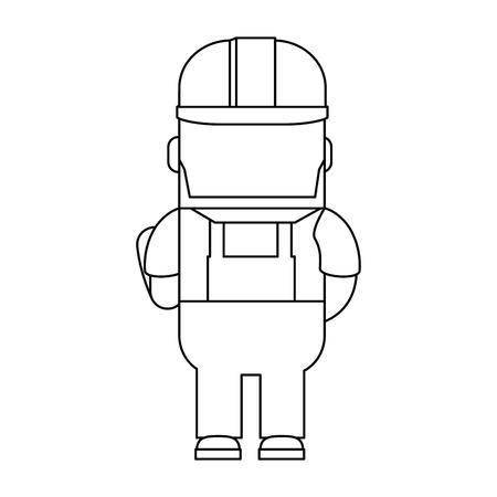 Funny builder avatar character vector illustration design