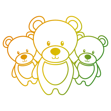 Three teddy bears cute animal toy vector illustration Ilustração