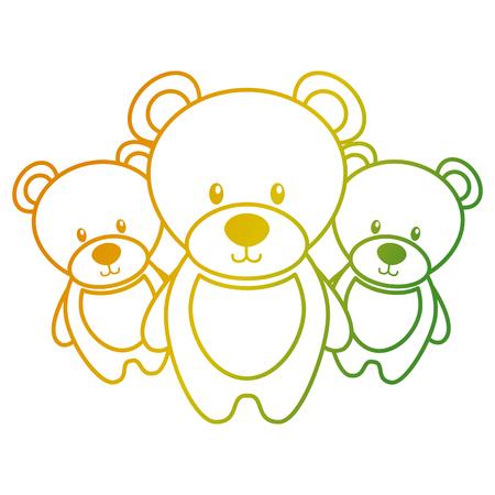 Trois ours en peluche animaux jouet mignon illustration vectorielle Banque d'images - 93258399