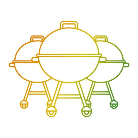 Three grill equipment preparation food vector illustration
