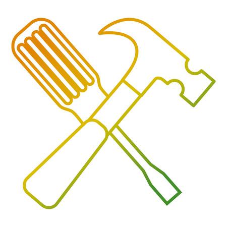 A hammer and screwdriver tools equipment repair vector illustration
