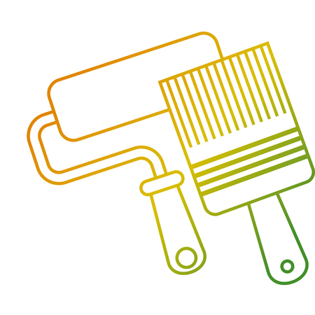 Roller paint and brush renovation and repair tools vector illustration