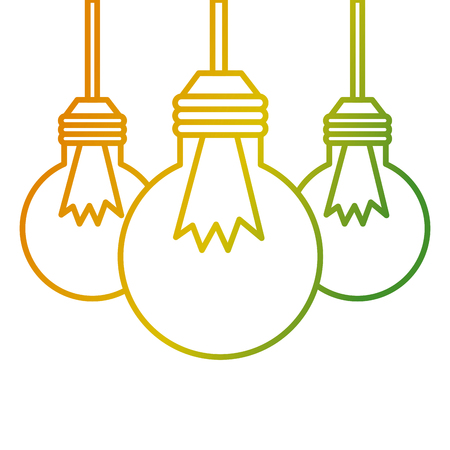 Three bulb light hanging energy icons vector illustration