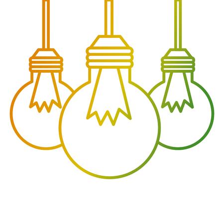 Three bulb light hanging energy icons vector illustration