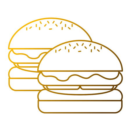 pair burgers fast food unhealthy vector illustration Illustration