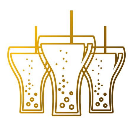 beverage soda three glass straw bubbles vector illustration Çizim