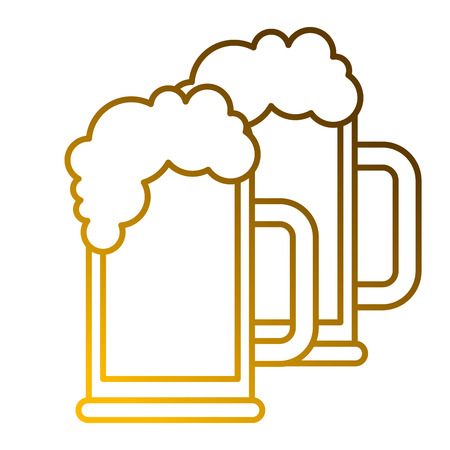 two beer glass foam drink fresh vector illustration