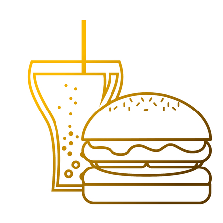 ハンバーガーとソーダグラスストローファーストフードベクトルイラスト