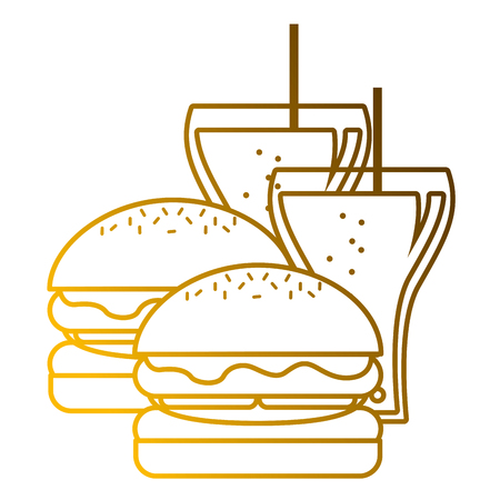 A burgers and two soda glass with straw vector illustration