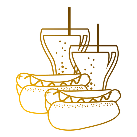 A hot dogs fast food and two soda delicious vector illustration