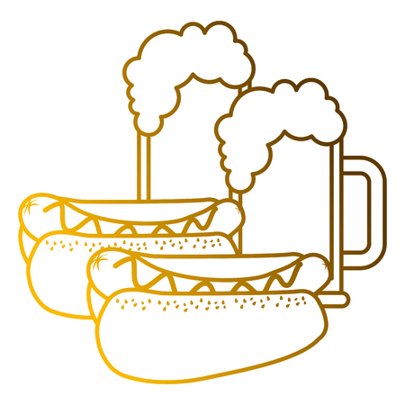 A hot dogs and beers beverage combo food vector illustration