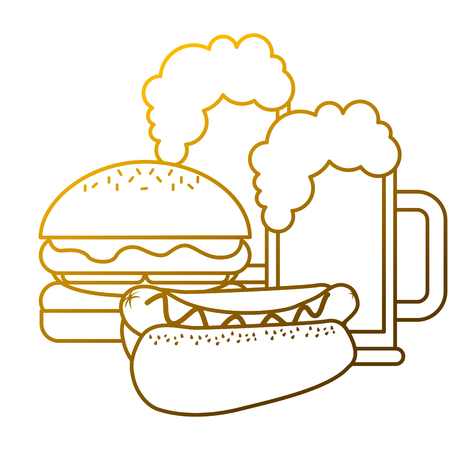 A burger and hot dog with two beer vector illustration