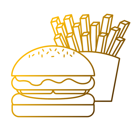A burger and french fries fast food vector illustration Illustration