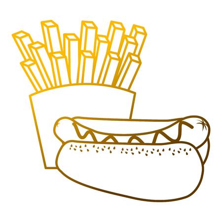 Een hotdog en frietjes eten dieet vectorillustratie Stock Illustratie