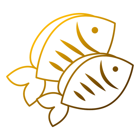 Two fresh fish food healthy vector illustration 向量圖像