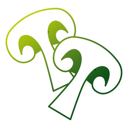 쌍 버섯 다이어트 건강 식품 벡터 일러스트 레이션