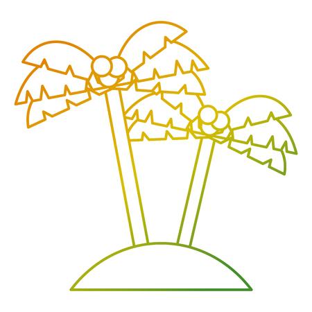 twee palmbomen kokosnoot strand zand vector illustratie Stock Illustratie