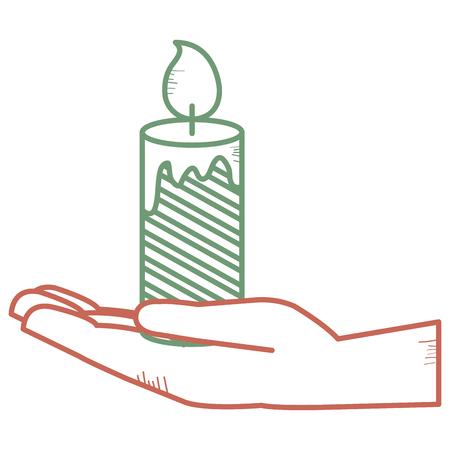 Hand with Christmas candles decorative icon vector illustration design Foto de archivo - 93258145