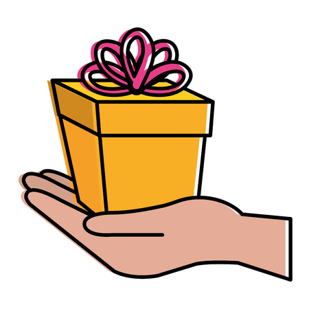 hand with gift box present icon vector illustration design