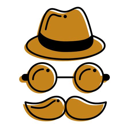 hipster hat mustache glasses face vector illustration