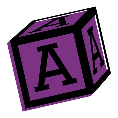 Alphabet block toy education icon vector illustration. Illustration